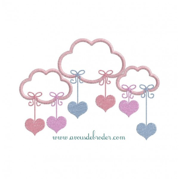 3 Nuages Coeurs & Etoiles (appliqué)