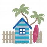 Cabine de plage et surf